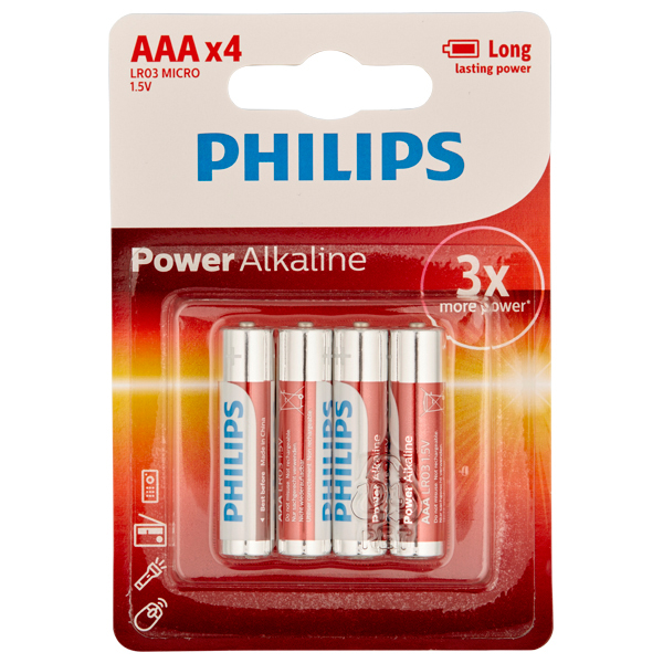Philips LR03 AAA Alkaline Batterier 4 st | Brands, Batterier, Mixed | Intimast.se - Sexleksaker