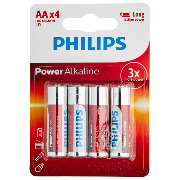 Philips LR06 AA Alkaline Batterier 4 st | Batterier, Mixed | Intimast.se - Sexleksaker