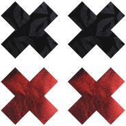 Peekaboos Nipple Stickers Kryss Röd 2-pack
