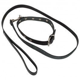 ZADO Läderhalsband med Koppel