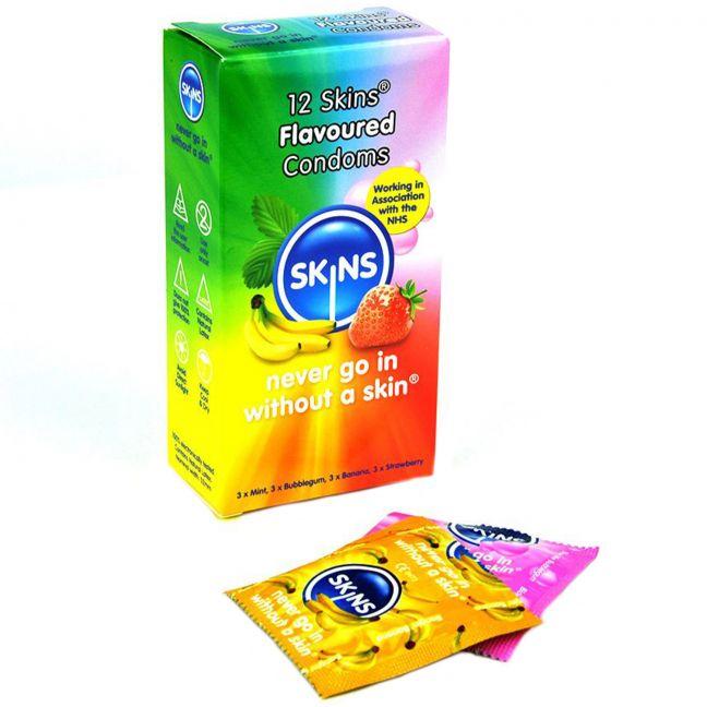 Skins Olika Kondomer med Smak 12 st