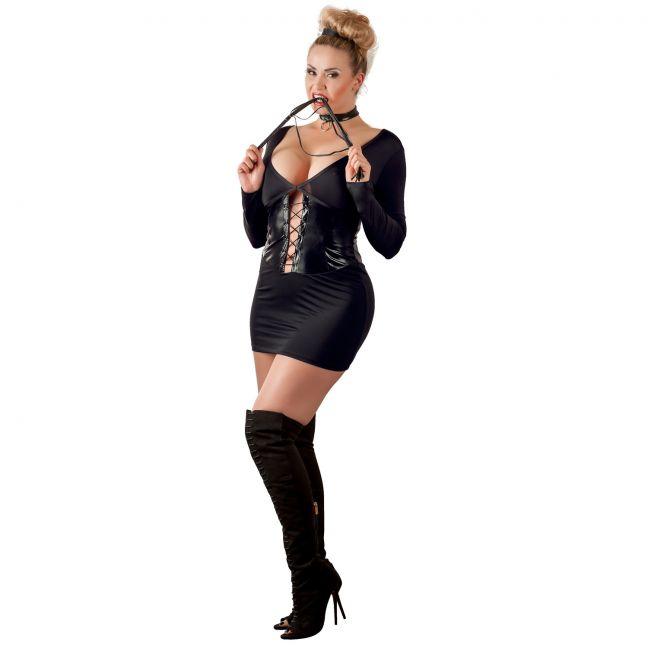 Cottelli Miniklänning med Korsett i Wetlook Plus Size