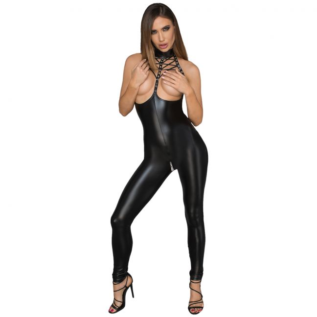 Noir Handmade Wetlook Swagger Jumpsuit