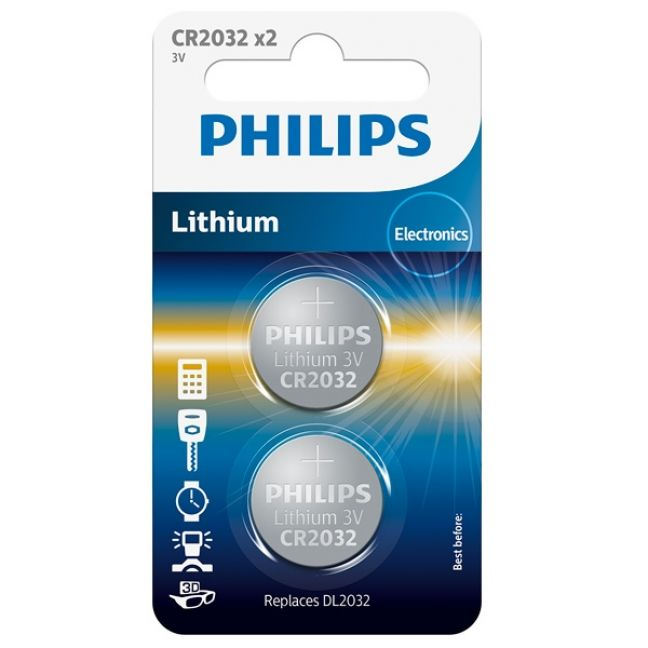 Philips CR2032 Alkaliskt Batteri 2 st