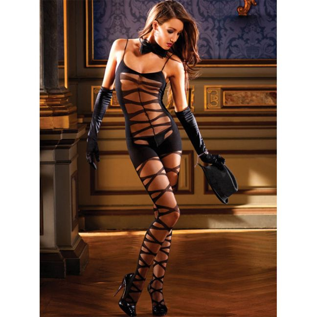 Baci Catsuit Bodystocking Tiger Sort