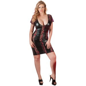 Cottelli Spetsklänning i Wetlook Plus Size