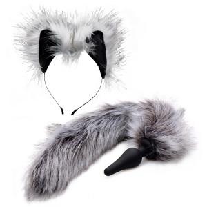 Tailz Grey Wolf Tail Analplugg och Öron
