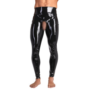 Late X Latex Leggins med Öppen Front