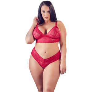 Cottelli Spets BH-set Röd Plus Size