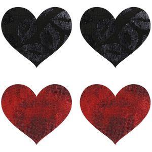 Peekaboos Nipple Stickers Hjärtan Röd 2-pack