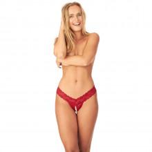 Nortie Malin Röd Grenlös G-string med Orgasmpärlor produkt på modell 1