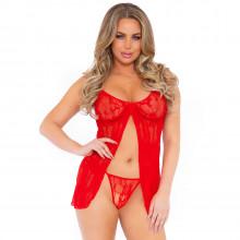 Leg Avenue Romantic Röd Babydoll och G-String Set Produktbild på modell 1