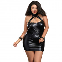 Dreamgirl Faux Leather Plus Size Chemise Product model 1