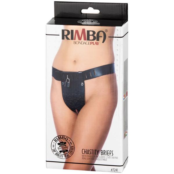 Rimba Läder Kyskhetsbälte för Kvinnor öppen Framdel S/M bild på förpackningen 90