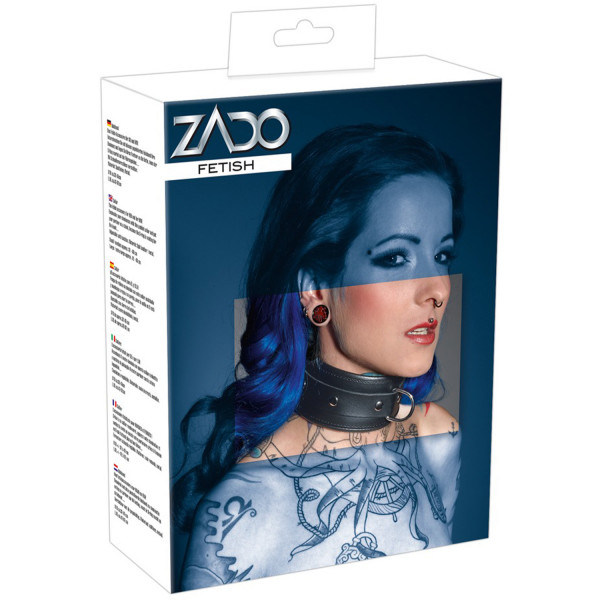 ZADO Läderhalsband med D-Ring  4