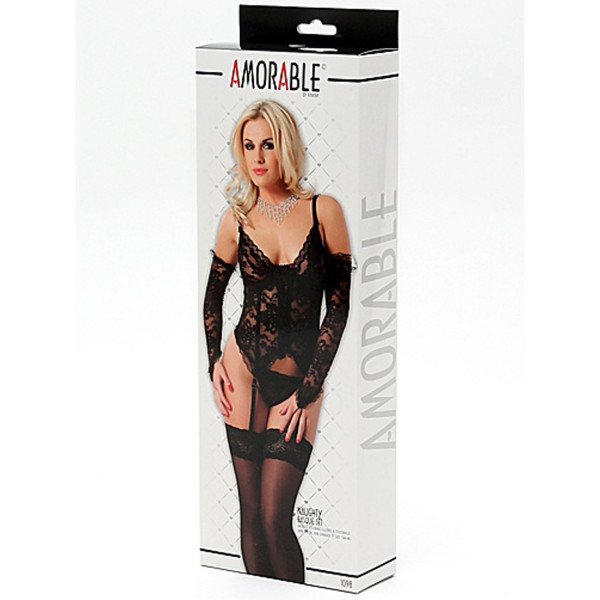 Amorable by Rimba Naughty Chemise med höfthållare Set i 4 Delar  3