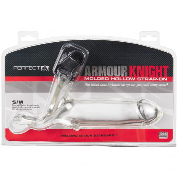Perfect Fit Armour Knight XL Genomskinlig Silikon Strap-On bild på förpackningen 90