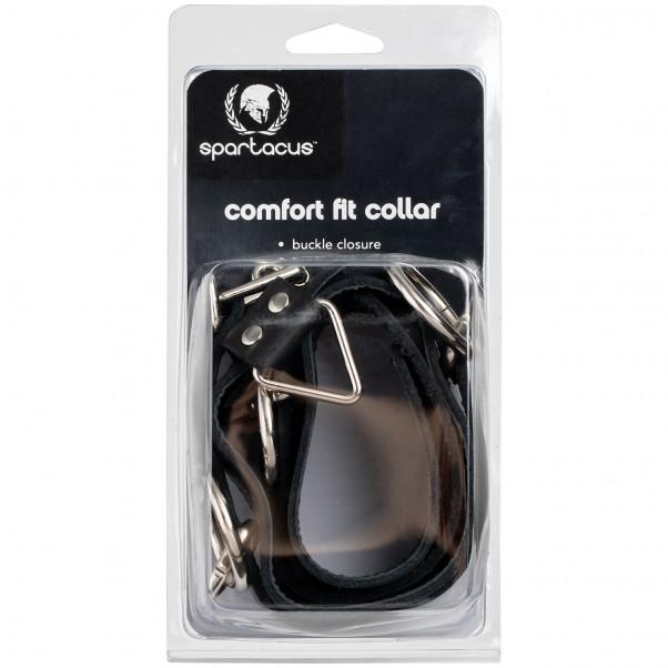 Spartacus Locking Collar Läderhalsband med 3 Ringar bild på förpackningen 90