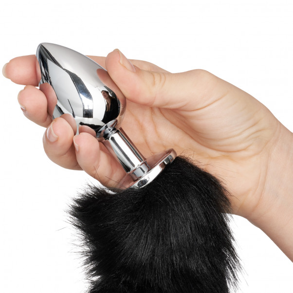 Furry Fantasy Black Panther Tail Buttplug produkt i hand 50