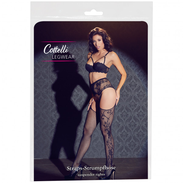 Cottelli Tendril Patterned Suspender Tights Pack 90