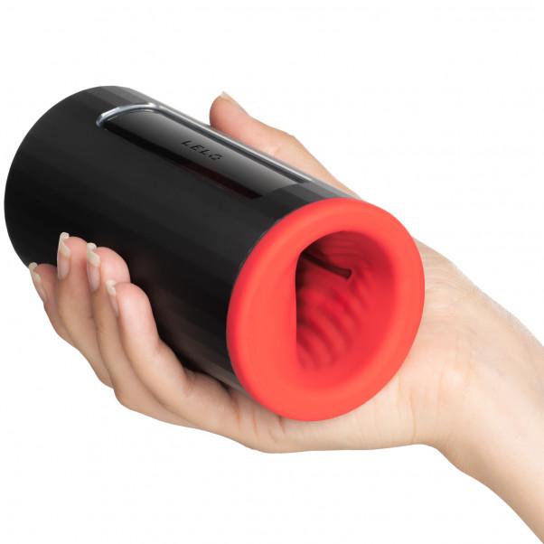 LELO F1S V2 Red Pleasure Console Masturbator Produktbild i hand 50